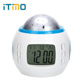 Wholesale Projector Light Clock - iTimo LED Night Light with Alarm Clock Starry Sky Star Moon Projector Light Table Lamp for Kid Children Bedroom Rotary Flashing
