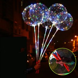 Wholesale Toy Balloon Festival - LED Luminous LED Bobo Balloon Flashing Light Up Transparent Balloons String Light with Hand Grip For Christmas Party Festival Decoration Hot