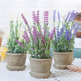 Künstlicher lavendel plastik online-Lavendel künstliche Blumen Kunststoff Lavendel Arrangements in Töpfen in Real Touch für Home Garden Party Decor Party