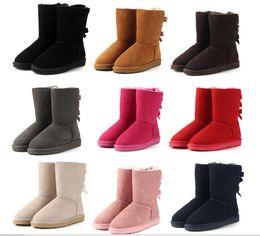 Argentina 2018 marca Clásico de cuero genuino bailey bow botas de nieve 100% de lana botas de mujer cálido invierno zapatos para mujer Australia botas de nieve cheap winter shoes Suministro