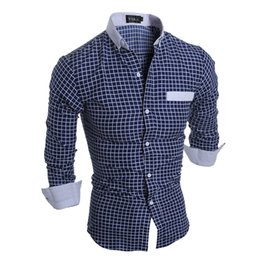 Wholesale Men High Fashion Dress Clothes - Camisa Masculina Slim Fashion Men Shirt 2018 New Brand Casual Long-Sleeved Chemise Homme Plaid Dress Male High Quality Clothes