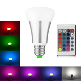 Wholesale stage lighting bulbs led - A60 E27 LED Bulb 10W RGB RGBW LED Lamp 16 Colors Remote Control Led Light for Home Decoration Stage Lighting