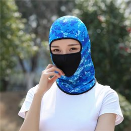 Wholesale Full Hats - Outdoor Full Face Mask Caps Riding Skull Hood Solid Multi Color UV Protection Cap Hat Active CS Outdoor Camo Sports Motorcycle Masks NNA87