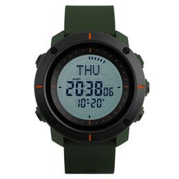 Répétition de montres-bracelets en Ligne-SKMEI Hommes Sports Militaire LED Montres Compass Watch 3 Réveil Répéteur Chronographe Lumière Arrière Étanche Numérique Montres 1216