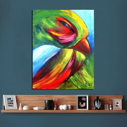 Wholesale Colorful Posters - Wall Art Colorful bird Oil Painting on Canvas Animal Wall Pictures for Living Room Home Decor Pictures Posters and Prints
