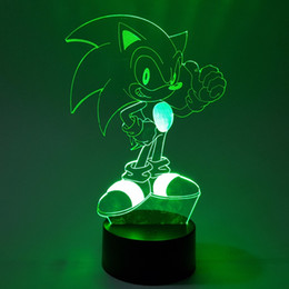 Luzes figura natal on-line-O Sonic 3D Nightlight Visual Illusion LED RGB Alterar Sonic The Hedgehog Action Figure Novidade Luz para presentes de Natal