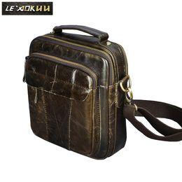 Sacchetti borsa universitari online-Borsa a tracolla con tracolla a tracolla messenger di design casual maschile in vera pelle Borsa a tracolla per gli uomini 149g