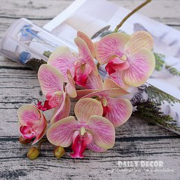 Wholesale Latex Flowers Orchids - 3D Real touch 6 head artificial silicone butterfly orchids wholesale small felt latex flowers wedding decorative Phalaenopsis
