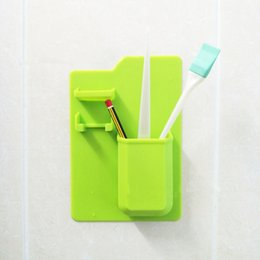 Wholesale toothbrush toothpaste case - Home Silicone Bathroom Toothbrush Toothpaste Shaver Holder Stick to Mirror Razor Toiletry Organizer Case Storage NNA141