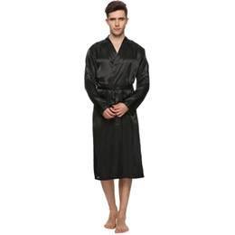 Solid Color Men Stain Robe Breathable Men V Neck Long Silk Bath Robe  Sleepwear Bridegroom Kimono Plus Size for Wedding Home Wear 3414895fb