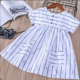 Wholesale Bird Print Chiffon - Everweekend Girls Bird Print Striped Ruffles Tees Cute Baby Pocket White Color Clothes Lovely Kids Spring Summer Tops