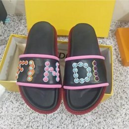 Wholesale toe punk - 2018 SUMMER womens real leather Luxury Colourful punk spike studs Gladiator open toe flat slides Sandals With box