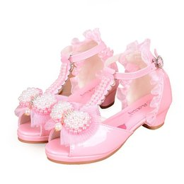 Wholesale white wedding low heel sandal - Size 26-38 2 Colors Children Princess Sandals Kids Girls Wedding Shoes High Heels Dress Party Shoes Girls Leather Bowkont Pearl Sandals