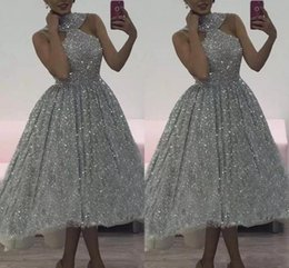 a4197b18c5405 2018 Tea Length Silver Sequined Prom Dresses Halter Neck Sleeveless A Line  Short Cocktail Party Dress Bridesmaid Dresses Formal Party Wear