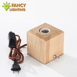 Wholesale Wood Lamp Base - Vintage bedside table lamps square wooden base for living room bedroom home decor schoolchildren's desk lamp luminaria lamparas