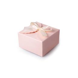 Boîtes à cadeaux de pâtisserie en Ligne-Carré coréen plié boîte de bonbons de mariage pâtisserie bijoux boîte d'emballage cadeau rose bleu 9x9x5cm wen6585
