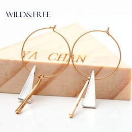 Wholesale Earring Big Triangle - Women Gold Big Circle Geometric Pendant Hoop Earrings Vintage Minimalist Triangle Metal Pendant Earrings Jewelry for Women