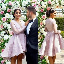 Wholesale Dusty Pink Ivory Dresses - Dusty Pink Short Prom Dresses Fashion High-Low Long Sleeves Knee Length Party Dress Elegant Lace Applique Women Formal Wear Evening Dresses