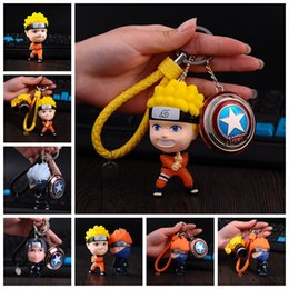 Wholesale Action Figure Design - NARUTO Action Figures Toys KeyChain Toy Keychain NEW 6 Designs Toy Gift New Backpack Pendant Dolls Kids Gifts EEA45