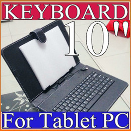 Wholesale interface leather - OEM Black Leather Case with Micro USB Interface Keyboard for 10 MID Tablet PC C-JP