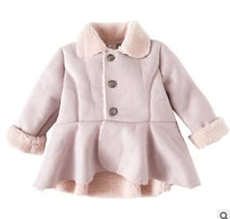Wholesale Toddler Girls Down Coat - Baby girls suede coat winter toddler kids velvet thicken falbala warmer princess overcoat child fleece lapel single breasted outwear R1730