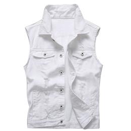 Wholesale Ripped Vest Top - Vintage Men Wash Denim Jeans Jacket Fashion Women Slim Fit Holes Ripped Coat Sleeveless Vest Outfit Tops White (XXXXL)
