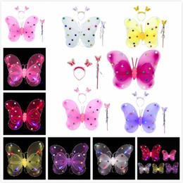 Дети вели палочки онлайн-3 Pcs LED Flashing Butterfly Wings 5 Colors Baby Girl Kids Magic Wand Headband Halloween Gifts Costume Novelty Gag Light Up Toys