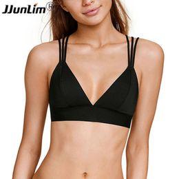 b096b97c42 2018 Women Sports Bra Shake proof Sexy Strappy Running Yoga Bra Workout Gym  Athletic Vest Sport Tank Top Black Fitness