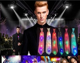 Wholesale light up bow tie - LED Flashing Light Up Bow Tie Necktie Mens Party Lights Sequins Bowtie Wedding Glow Props Halloween Christmas Party