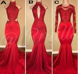 Wholesale Vintage Girls Dresses - Vintage Long Sleeves Red Mermaid Prom Dresses 2018 Appliqued Sequined African Black Girls Evening Gowns Red Carpet Dress