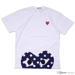 Wholesale polka dot shirt blue - 2018 wholesale AAA Quality Hot HOLIDAY Red Blue Heart Emoji Play Polka Dot With Upside Down Heart T-Shirt (White)