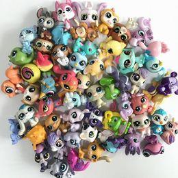 mini katzenfiguren Rabatt Großhandel Zufällige Auswahl Mini Littlest Pet Shop LPS Puppe Tier Cartoon Katze Hund Tier Mini 1.0in Action-figuren Kinder Spielzeug