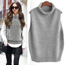 Wholesale Knit Vest Black - New Fashion Winter Vest Women Solid Sleeveless Female Knitted Jackets Womens Coat Females Waistcoats Thickening Trendy Ladies