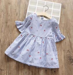 Canada En gros Brand New Enfants Vêtements 3-8 Toddler Filles Flare Manches Princesse Robe D'été Rayé Robe Brodée Livraison Gratuite Offre