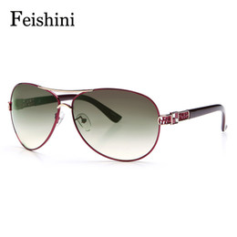 Wholesale Quality Visual - FEISHINI High Quality Alloy Fatigue Resistance UV400 Glasses True Visual Color Vintage Sunglasses Women Brand Designer 2017