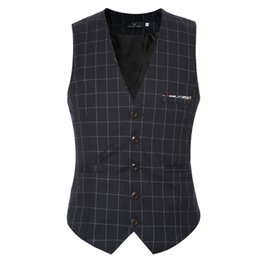 Wholesale hooded vest dress - 2017 New Men Casual Business Plaid Stripe Waistcoat  Man's Wedding Dress Vests   Plus Size M-6XL