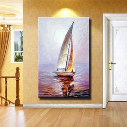 Astratto paesaggio marino Dipinto ad olio su tela a mano Bellissimo colore astratto Paesaggio barca a vela Dipinti per la decorazione domestica da