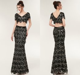 Wholesale Designer Black Cocktail Dresses - New Arrival Luxury Black Two Pieces Prom Dresses Mermaid Beading Crystal Prom Gowns Women Arabic Party Dress CPS935