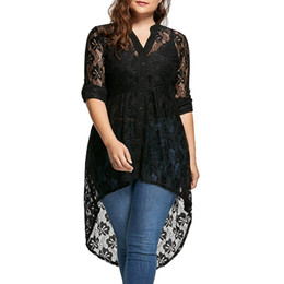 women white button up shirt Coupons - Wipalo Women Plus Size Blouse Autumn Peplum Long Sleeve High Low Lace Shirts Tunic Through Button Up Women Tops And Blouse 5XL