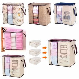 Armarios para guardar ropa online-Organizador portátil no tejido del bolso de almacenamiento de la ropa 45.5 * 51 * 29cm Organizador plegable del armario para la almohada Edredón Manta Ropa de cama GGA619 100pcs