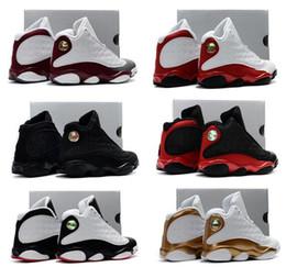 Wholesale Child Flights - Infant Black cats Boy & girl Retro 13 Bred History of Flight Kids basketball shoes HOF children athletic sports boy girl sneaker size 28-35