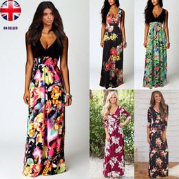 38355c483f04 UK Ladies Boho Maxi Summer Beach Long Skirt Cocktail Party Floral Dress SZ  8-20