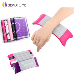 Wholesale Silicone Manicure Hands - Wholesale- Comfortable Plastic & Silicone Nail art Cushion with pad Pillow Salon Hand Holder Nail Arm Rest Manicure Accessories Tool !
