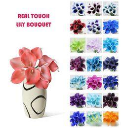 2020 lirios de bodas 2018 ventas calientes 50 unids MOQ Real Touch Lily simulación boda Ramos de flores Artificial Calla Lily para la decoración nupcial y del hogar (sin jarrón) rebajas lirios de bodas