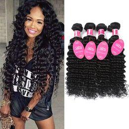 Wholesale cheap wavy human hair extensions - 8A Brazilian Virgin Hair Deep Wave Bundles Cheap Curly Weave Wet and Wavy Human Hair 3 or 4 Bundles Mink Brazilian Human Hair Extensions 1B