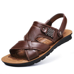 11ec9bfb0 real blue leather sandals Promo Codes - LAIDILANGTU New men s real leather  casual sandals and slippers