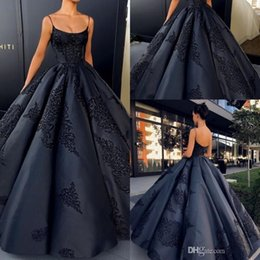 Wholesale Spaghetti Strap Prom Ball Gowns - 2018 Sexy Black Spaghetti Straps Satin Ball Gown Evening Dresses Sleeveless Lace Appliques Backless Prom Dresses Floor-Length Formal Dresses