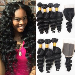 26 inch hair extentions Coupons - Brazilian Loose Wave Virgin Hair With Closure Unprocessed Remy Human hair Extentions Peruvian Malaysian Hair 3 Bundles With Lace Closure