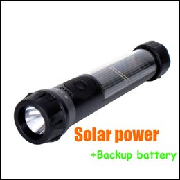 black Waterproof Solar Powered Rechargeable LED Flashlight Torch Lamp w Backup battery US de Fornecedores de frente de bicicleta de montanha