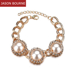 green pearl big chain Coupons - [JASON BOURNE]Gold Chain Crystal Bracelets with Zircon For Women Girl Big Stone Green Red Simulated Pearl Trendy Jewelry BR001